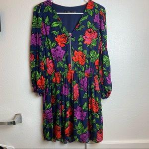 Zara trafaluc collection floral dress long sleeve